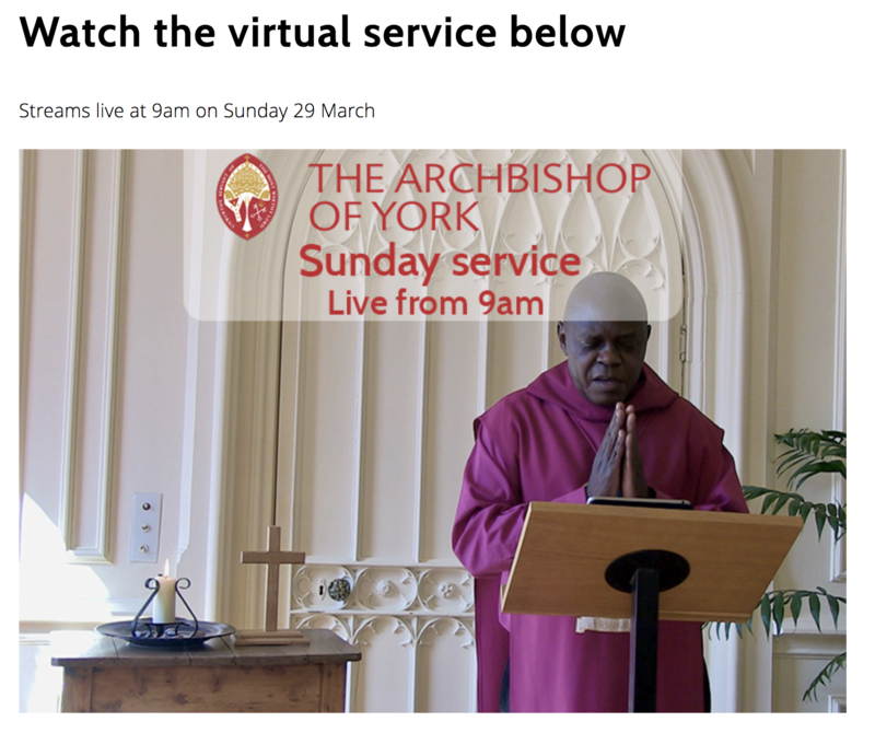 Sunday 29 March at 9am with the Archbishop of York,