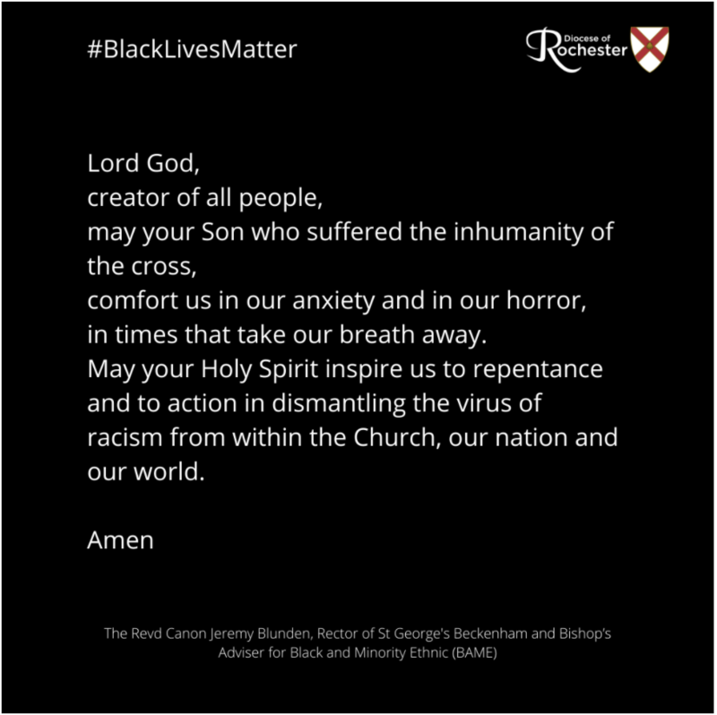 """A prayer by Revd Canon Jeremy Blunden and Revd Dr Rosalyn reciting the poem """"I Cannot Breathe"""" by Oyin Oladipo."""